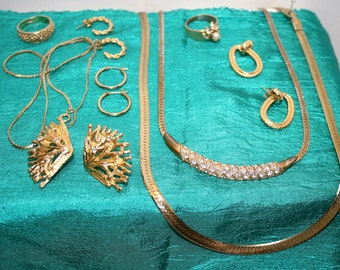 Vintage costume jewelry; Monet, Avon, gold and silver tone jewelry; matched earrings; working clasps; not destash