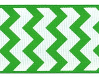 "7/8"" Grosgrain ribbon - apple green and white chevron"