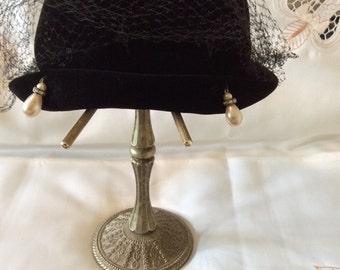 "Vintage FRANK R. JELLEFF Black Velvet ""Semi-Cloche"" Hat with Pearl and Rhinestone Teardrops"