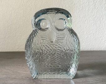 Vintage Blenko Owl Clear Textured Glass Owl Figurine, Blenko Owl