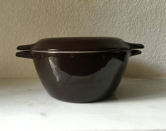 Vintage Copco Denmark Chocolate Brown Enamled Cast Iron Dutch Oven