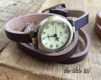 Wrapped Leather Watch/Watch/Women's Watches/Leather Retro Watch/Wrist Bohemian Watch/Bracelet/Wrap Watch/Gift under 25/Vintage Watch.