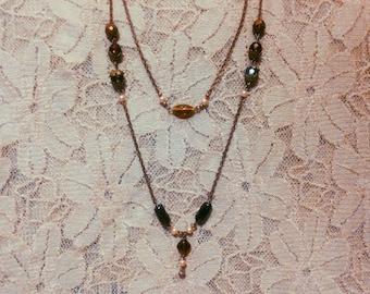 Bronze-Copper Aesthetic Necklace - long