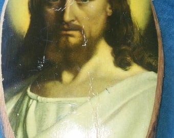 """A Vintage Picture Of """"Jesus"""" On A Wood Bark Plaque"""