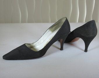WOMEN'S SHOES. Black peau de soie.  Women's size 7 narrow. Vintage mid 1960's