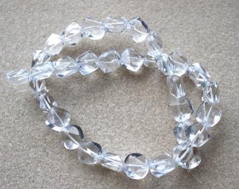 Clear Quartz 12x12x8mm Faceted Regular Nugget Beads - A Grade