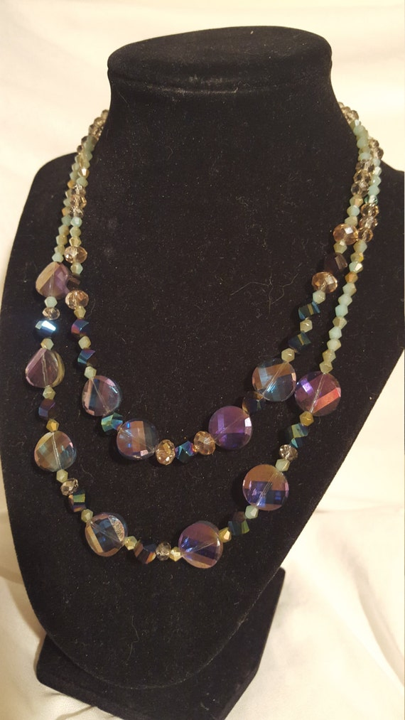 Beautiful silver and amethyst cystal necklace free shipping
