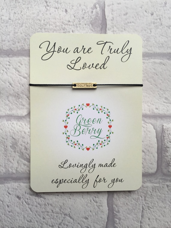 "Courage Tag String Bracelet on ""you are truly loved"" quote card madebygreenberry wish bracelet"