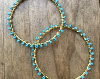 Turquoise Seed Bead Sprinkle Wire-Wrapped Bangle Bracelet