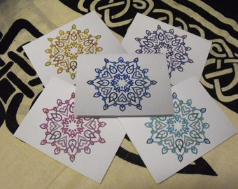 Celtic Snowflake Greeting Cards Set of 5 multicolor with envelopes