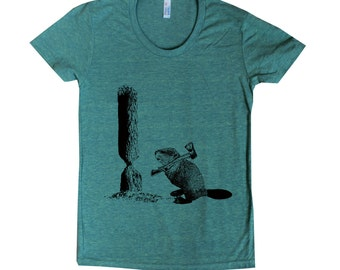 women's The Original Lumberjack American Apparel t shirt Beaver with Axe 15 Colors available S M L XL