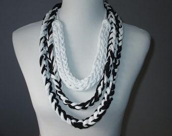 White and Black T-Shirt Necklace, Fingerknit & Crochet Rope Necklace, Versatile Necklace, Handmade T-Shirt Necklace, Upcycled T-Shirt