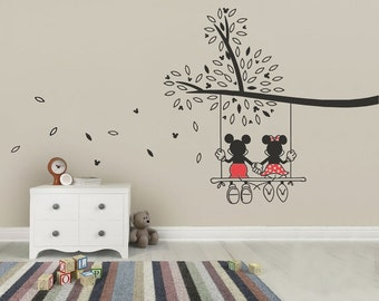 Mickey Mouse U0026 Minnie Tree Swing Wall Sticker   Wall Art Decal Made From  Vinyl Childrens Ideas