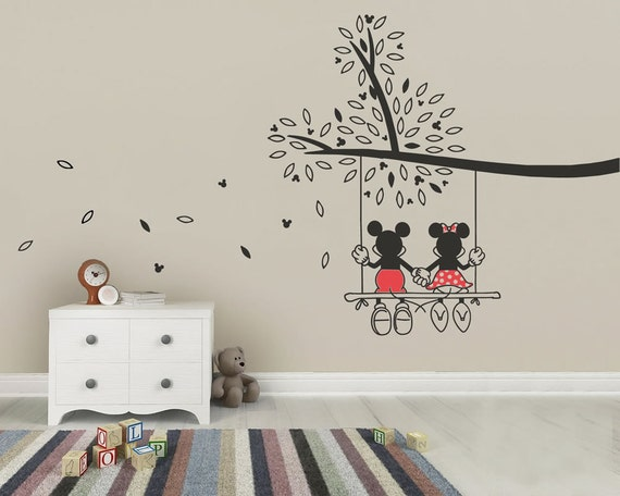 mickey mouse amp minnie tree swing wall sticker wall art decal wall sticker mickey mouse wall art com