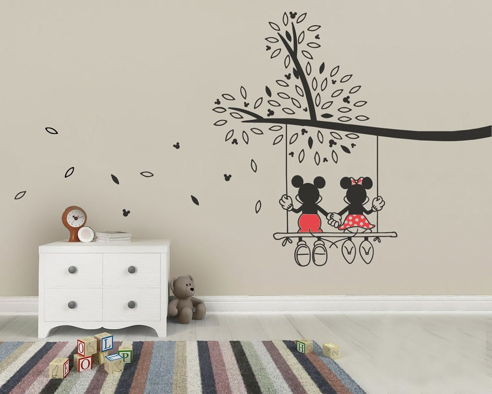 Mickey mouse minnie tree swing wall sticker wall art decal for Disney wall stencils for painting kids rooms