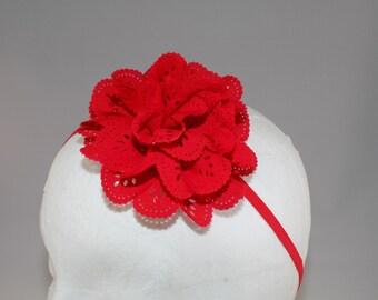 Eyelet Puff Flower on Skinny headband