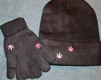 Hat and Glove Set w/Pot Leaf Designs (MC009)