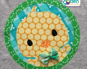 Easter Chick with bow tie Circle, Boy Spring Tee