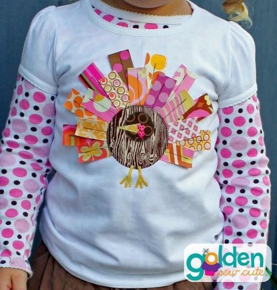 Thanksgiving Turkey Feather Tee, pink, orange, yellow and brown, Rectangle feathers, Modern Turkey, Shirt, Tee, Onesie, Tutu, Dress