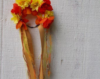 Flower Crowns//Floral Headband// With Ribbon// Yellow and Orange