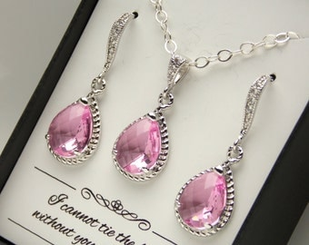 Pink Earrings and Necklace Set, Pink Wedding Jewelry Set, Sterling Silver, Cubic Zirconia, Rose Set Bridesmaid Jewelry Set, Bridesmaid Gifts