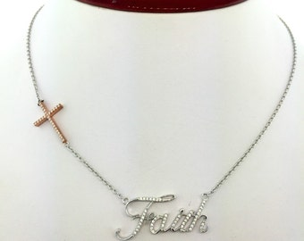 Sterling Silver Faith and Cross necklace