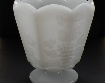 Milk Glass Vase, EO Brody Co, Pedestal Vase, Cleveland Ohio, Grapes and Grapevine, White Milk Glass, Scalloped Edge, Napa Valley Chic