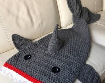 Childrens Shark Bite Blanket, Crochet Shark Blanket, Crochet Shark Afghan