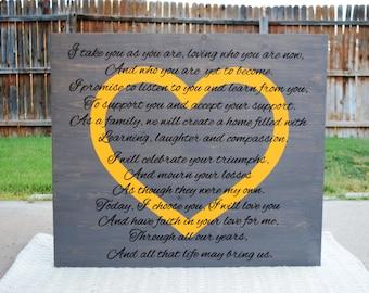 Anniversary Custom Sign Anniversary Sign Personalized Vows Anniversary Personalized Wedding Vows Sign Anniversary Gift Custom Wedding Gift