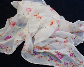 """Floral scarf in ivory, pink, and orange 19"""" square"""