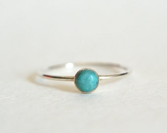 Sterling Silver Turquoise Ring, Silver Turquoise Ring, Turquoise Ring Silver, Stackable Ring, Stacking Ring, Turquoise Silver Ring