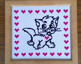SALE!!Valentine's Day-Embroidered picture-Kitten with pink hearts -Framed picture -Home decor - Wall Decor - Handmade cross stitch picture