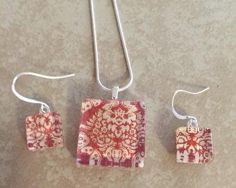 Glass Tile Necklace & Earrings