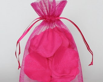 Organza Gift Bags, Fuchsia Sheer Favor Bags with Drawstring for Packaging, pack of 50
