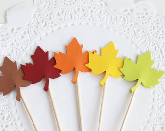 Autumn leaf cupcake toppers, Thanksgiving Table Decoration, Fall in Love Bridal Shower Decoration, Autumn Decor, Fall Wedding Decoration
