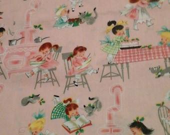 Apron Fabric Vintage Style Children 1 yard cotton