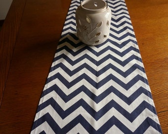 "Navy Chevron Table Runner - Premier Print, 14 x 60"" Table Runner"
