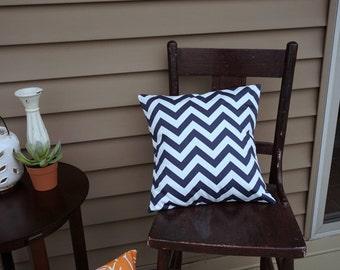 "SALE Navy Chevron Pillow Cover, 16"" square, Premier Print Geometric Print, Envelope Closure, Instant Room Makeover Look"