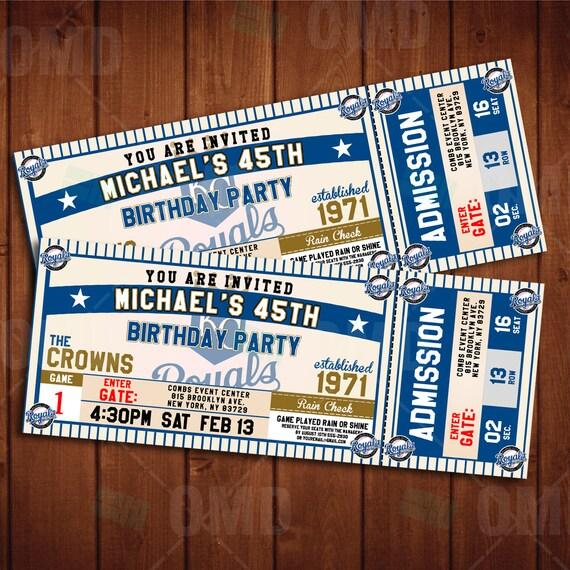2.5x6.5 Kansas City Royals Sports Party By Sportsinvites