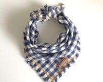 Chesna. UPDATED! Same Blue and White Gingham fabric with new stitching and hardware! Dog bandana All sizes: small, medium, large, xl