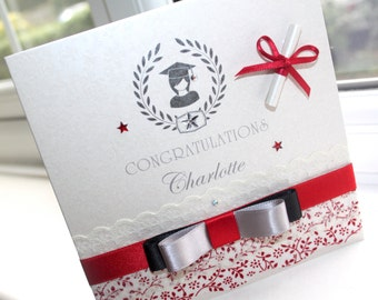 Personalised Handmade Graduation Card Lace Scroll by Charlotte Elisabeth GN001