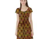 African Kente Short Sleeve Skater Dress