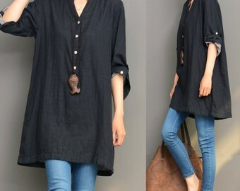 Black linen top linen tunic shirt asymmetrical caftan spring autumn top loose blouse maxi top plus size clothing handmade top custom