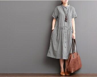 Casual loose summer dress long pleated dress cotton blouse maxi dress women linen clothing linen dress linen tunic plus size clothing