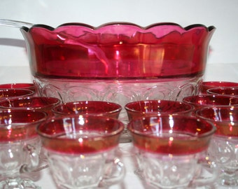 Red Ruby Flash Rimmed Punch Bowl Set
