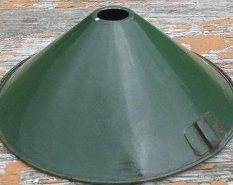 Vintage 1930s Dark Green Enamel Light Shade - Industrial/Office/Home