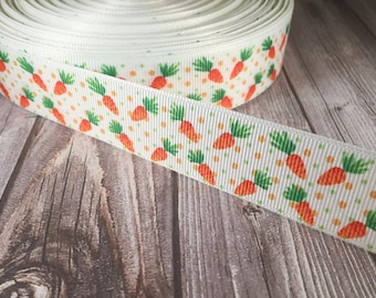 "Carrot ribbon - Easter ribbon - What's up doc - 1"" grosgrain ribbon - Green and orange - Polka dot ribbon - Craft ribbon - Hair bow supply"