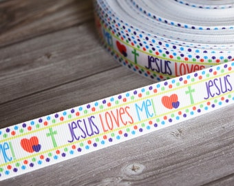 "Jesus loves me - 7/8"" Grosgrain ribbon - Jesus ribbon - Christian ribbon - DIY hair bows - Pretty ribbon - High quality ribbon -Fancy ribbon"