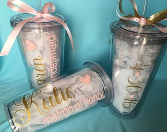 Personalized Wedding Tumblers w/ Straw; Wedding Party Gifts; Bridesmaids Gifts