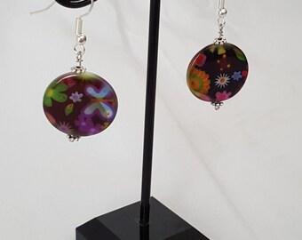 Black Flower Disc Earrings